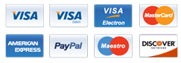 We accept all major credit and debit cards and PayPal